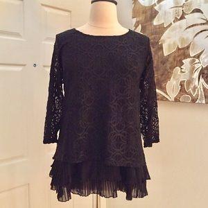 Alfani Black Lace Ruffle Tiered Hem Tunic